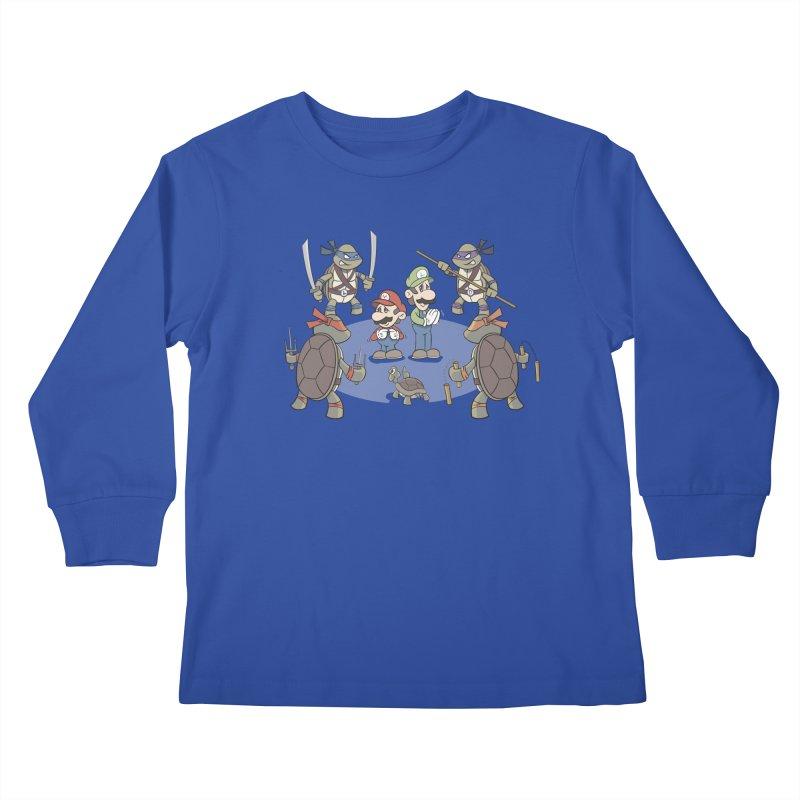 Super Mario Bros VS TMNT Kids Longsleeve T-Shirt by YiannZ's Artist Shop