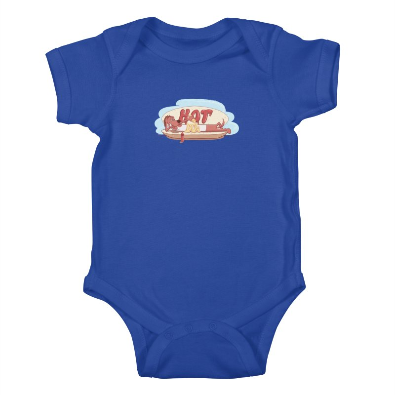 HOT-DOG Kids Baby Bodysuit by YiannZ's Artist Shop