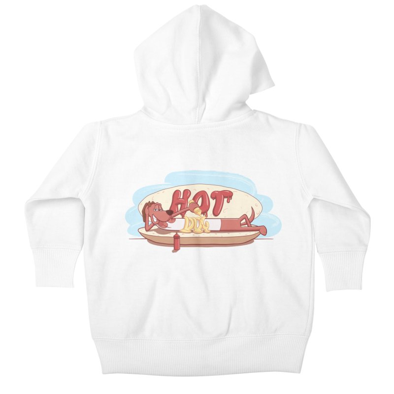 HOT-DOG Kids Baby Zip-Up Hoody by YiannZ's Artist Shop