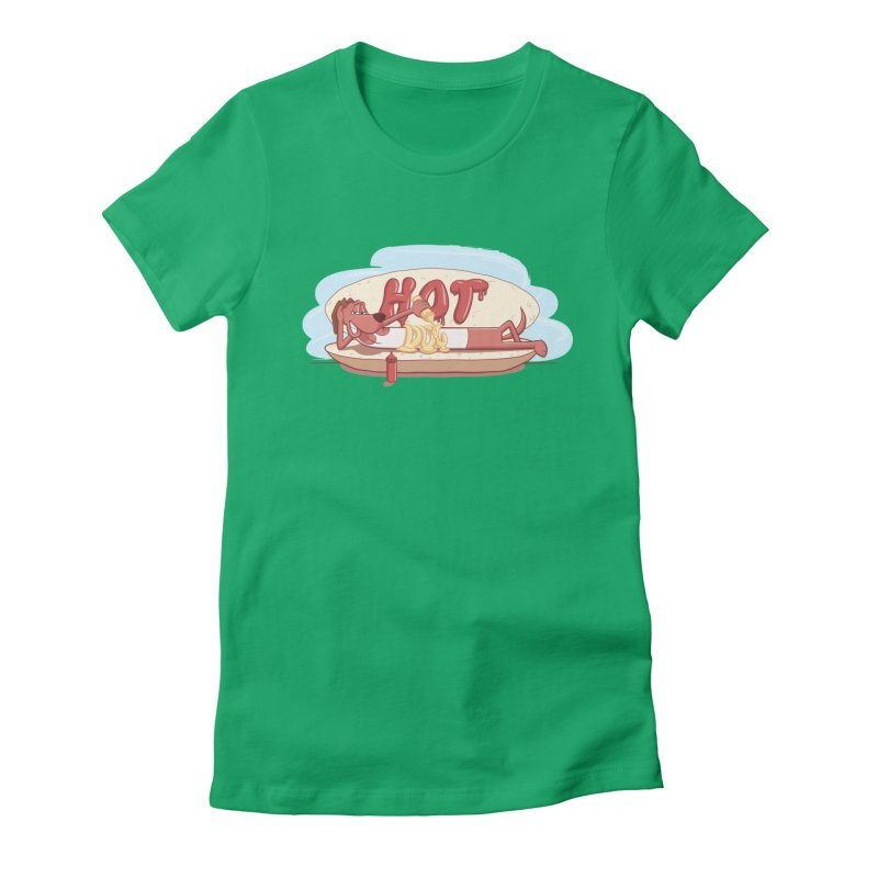 HOT-DOG Women's Fitted T-Shirt by YiannZ's Artist Shop