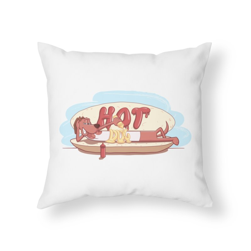 HOT-DOG Home Throw Pillow by YiannZ's Artist Shop