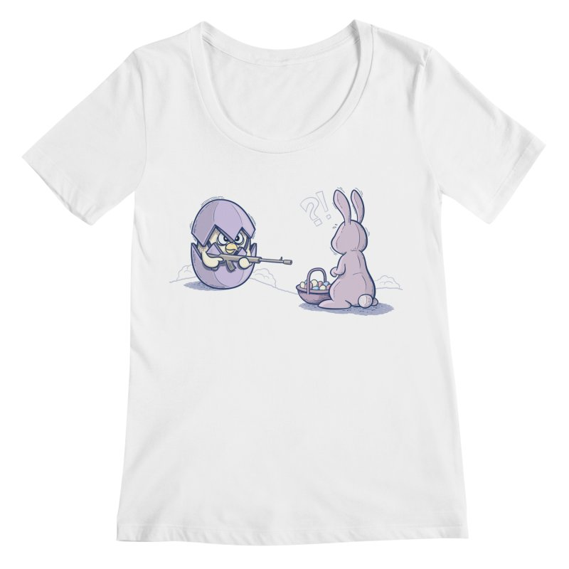 Easter Bunny in trouble Women's Regular Scoop Neck by YiannZ's Artist Shop