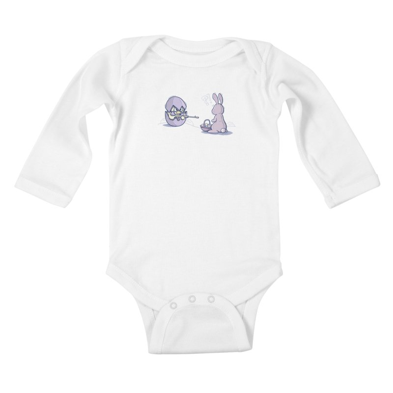 Easter Bunny in trouble Kids Baby Longsleeve Bodysuit by YiannZ's Artist Shop
