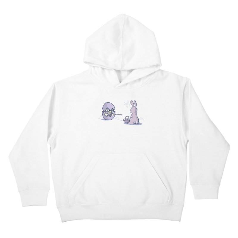 Easter Bunny in trouble Kids Pullover Hoody by YiannZ's Artist Shop