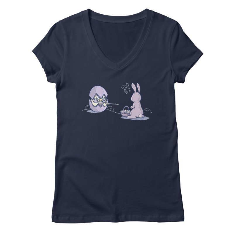 Easter Bunny in trouble Women's Regular V-Neck by YiannZ's Artist Shop