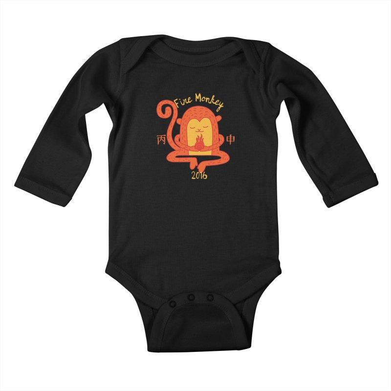 Fire Monkey Baby Kids Baby Longsleeve Bodysuit by yinyangwest's Artist Shop