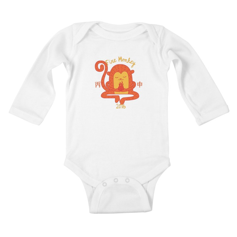 Fire Monkey Baby Kids Baby Longsleeve Bodysuit by yinyangwest's Artist Shop