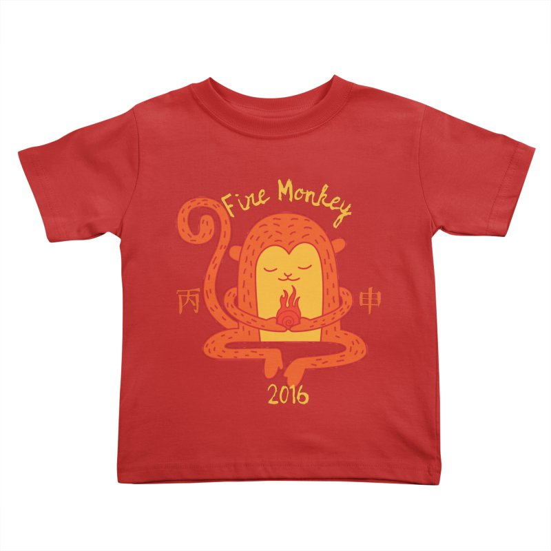 Fire Monkey Baby in Kids Toddler T-Shirt Red by yinyangwest's Artist Shop