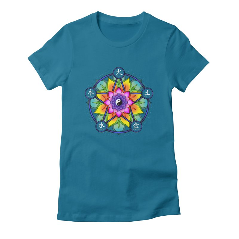 Five Elements Mandala Women's Fitted T-Shirt by yinyangwest's Artist Shop