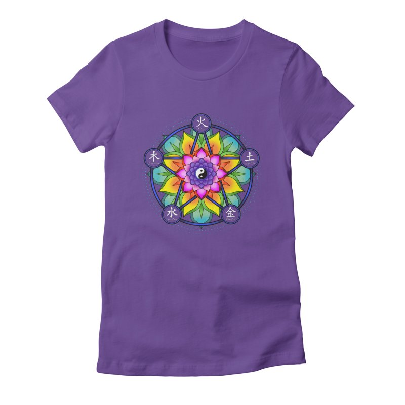Five Elements Mandala in Women's Fitted T-Shirt Purple by yinyangwest's Artist Shop