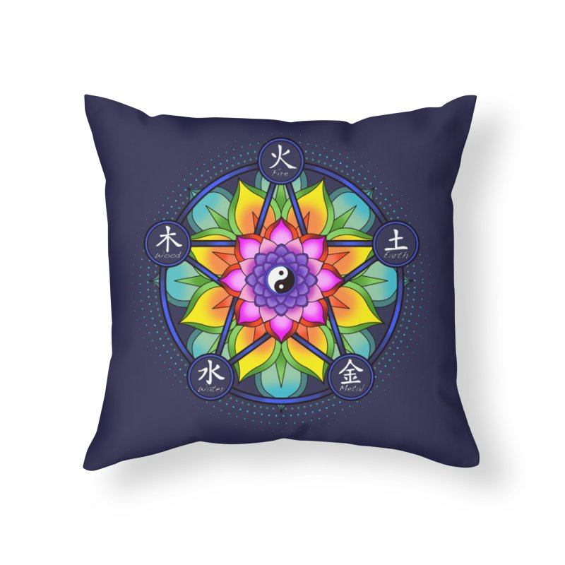 Five Elements Mandala Home Throw Pillow by yinyangwest's Artist Shop