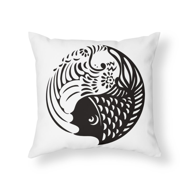 Yin Yang West Logo Black Home Throw Pillow by yinyangwest's Artist Shop