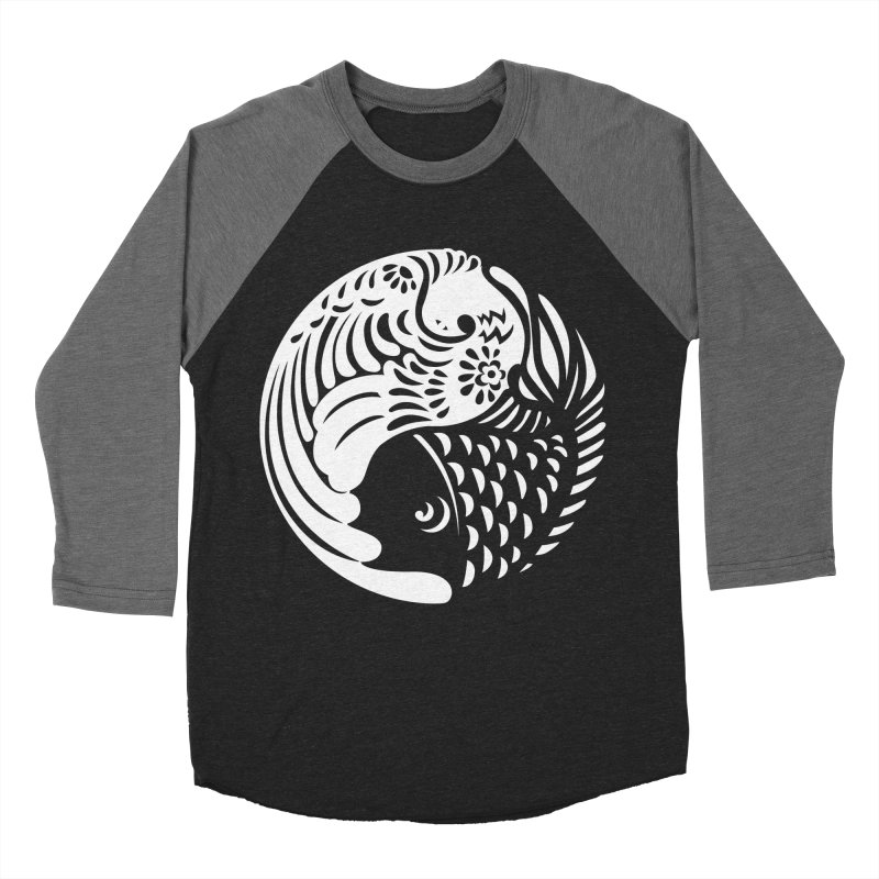 Yin Yang West Logo White Men's Baseball Triblend T-Shirt by yinyangwest's Artist Shop