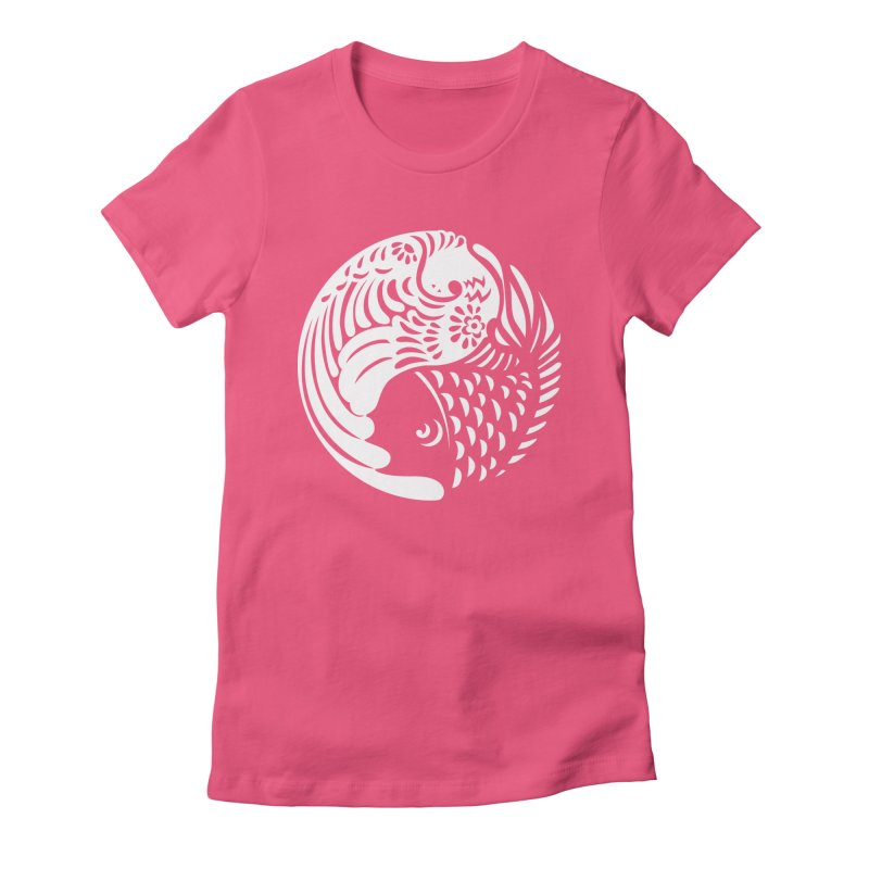 Yin Yang West Logo White in Women's Fitted T-Shirt Fuchsia by yinyangwest's Artist Shop