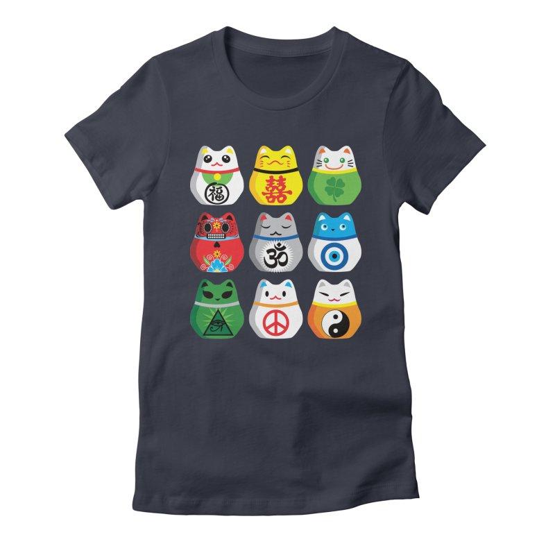 Maneki Nekos Women's Fitted T-Shirt by yinyangwest's Artist Shop