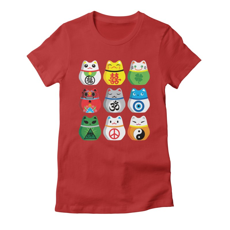 Maneki Nekos in Women's Fitted T-Shirt Red by yinyangwest's Artist Shop