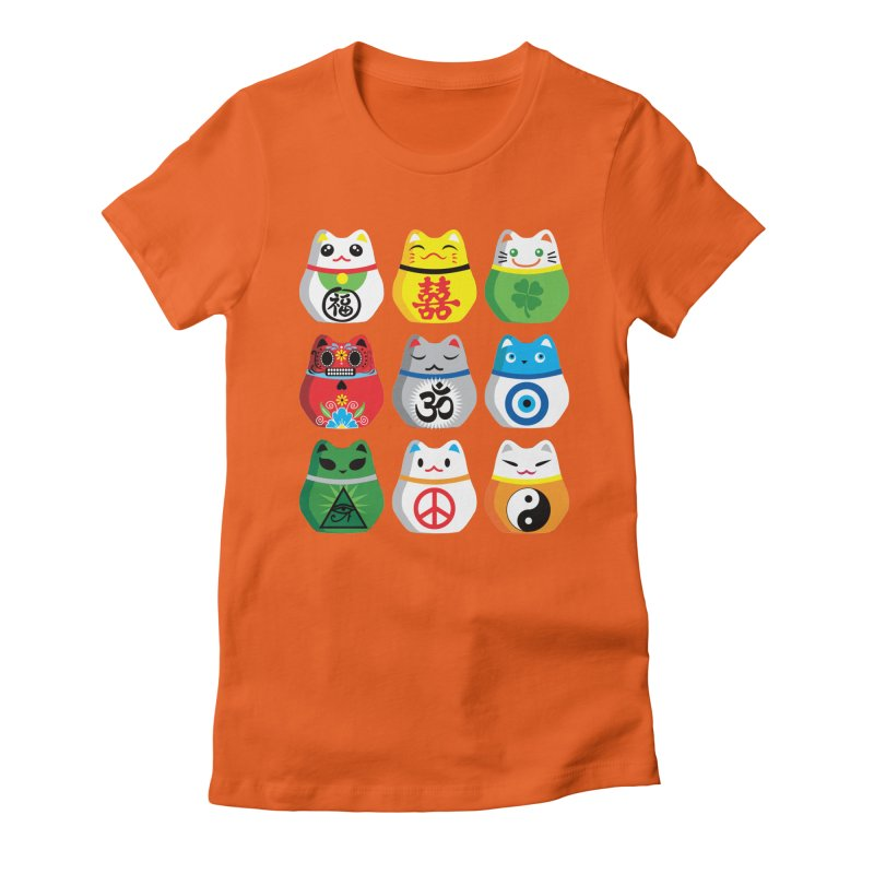 Maneki Nekos Women's Fitted T-Shirt by yinyangwest's Artist Shop