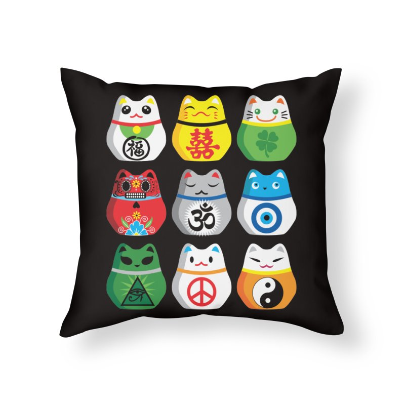 Maneki Nekos Home Throw Pillow by yinyangwest's Artist Shop