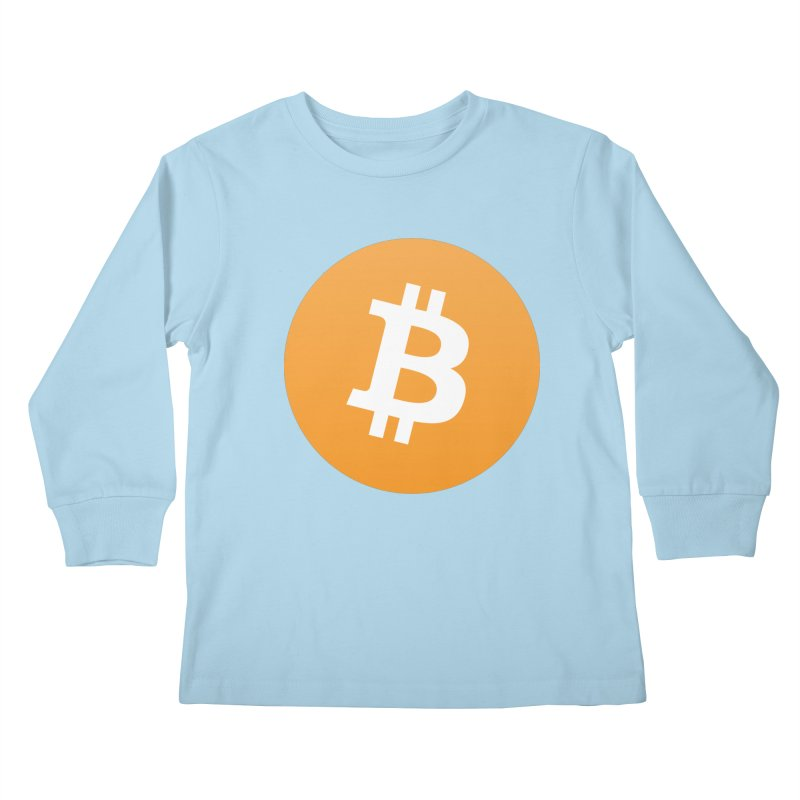 Need I Say More? (Simple Bitcoin Logo) in Kids Longsleeve T-Shirt Powder Blue by The YMB Bitcoin Galore