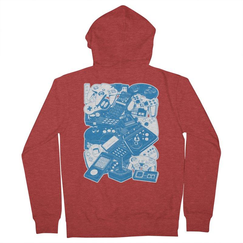 Joysticks & Controllers (blue) Men's Zip-Up Hoody by ym graphix's Artist Shop