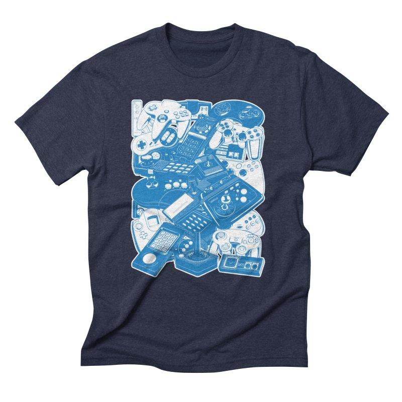 Joysticks & Controllers (blue) Men's Triblend T-shirt by ym graphix's Artist Shop