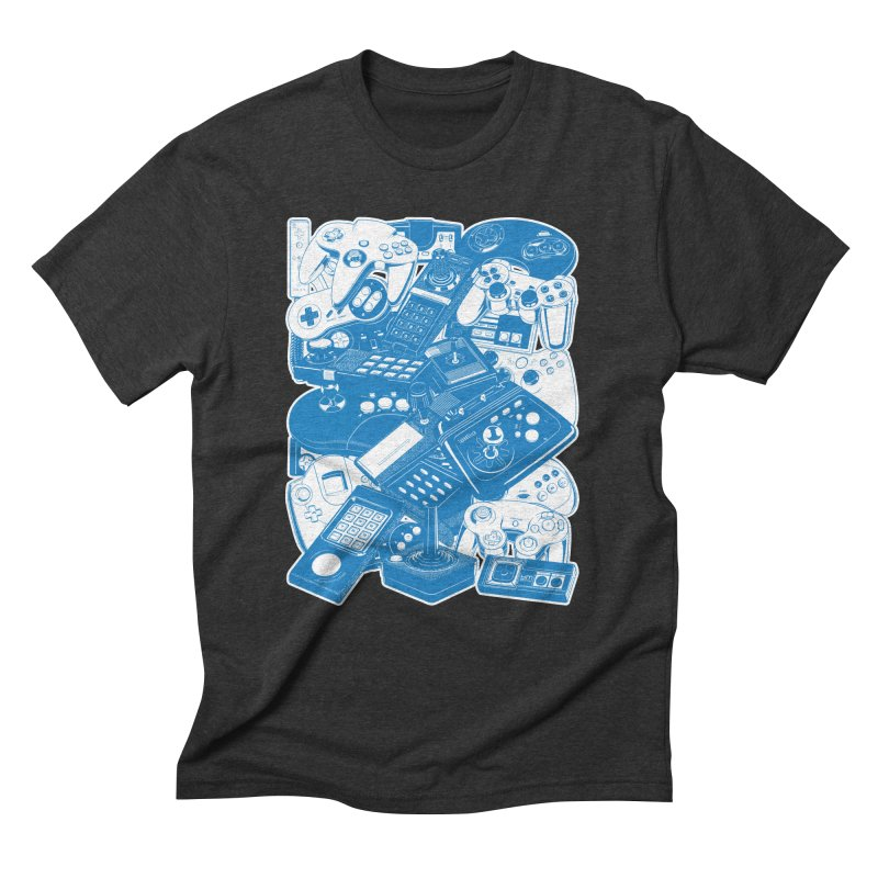 Joysticks & Controllers (blue) Men's Triblend T-Shirt by ym graphix's Artist Shop
