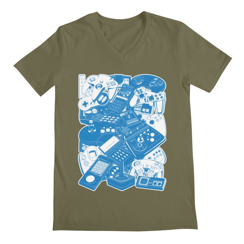 Joysticks & Controllers (blue) Men's V-Neck by ym graphix's Artist Shop