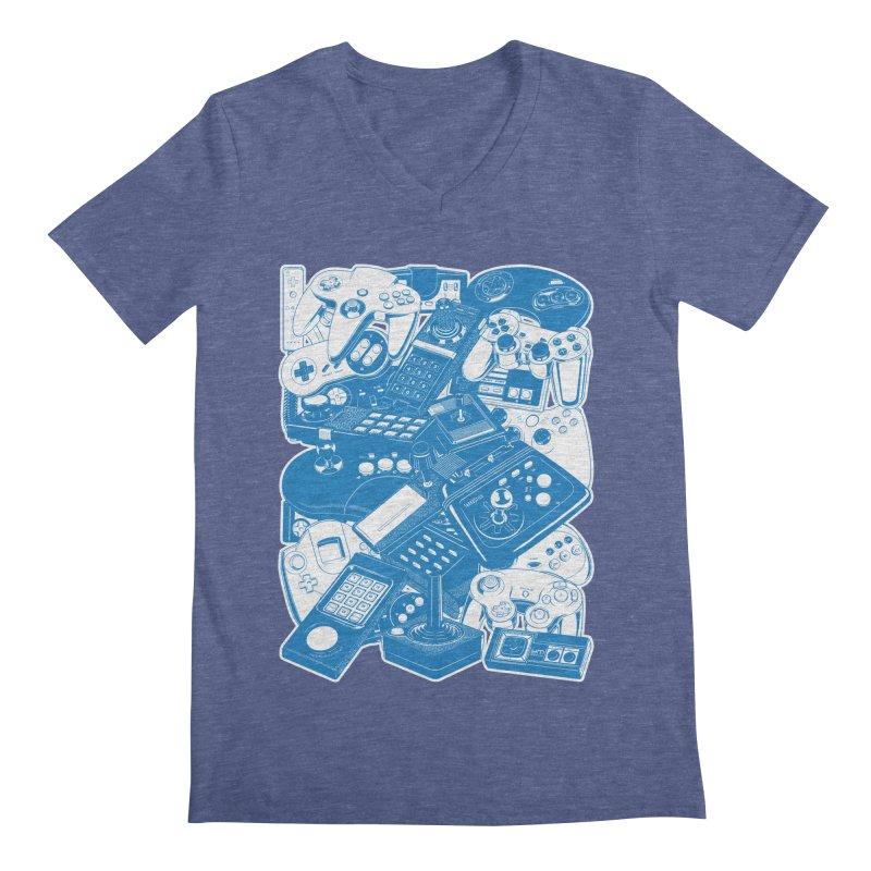 Joysticks & Controllers (blue) Men's V-Neck by ym graphix's Artist Shop