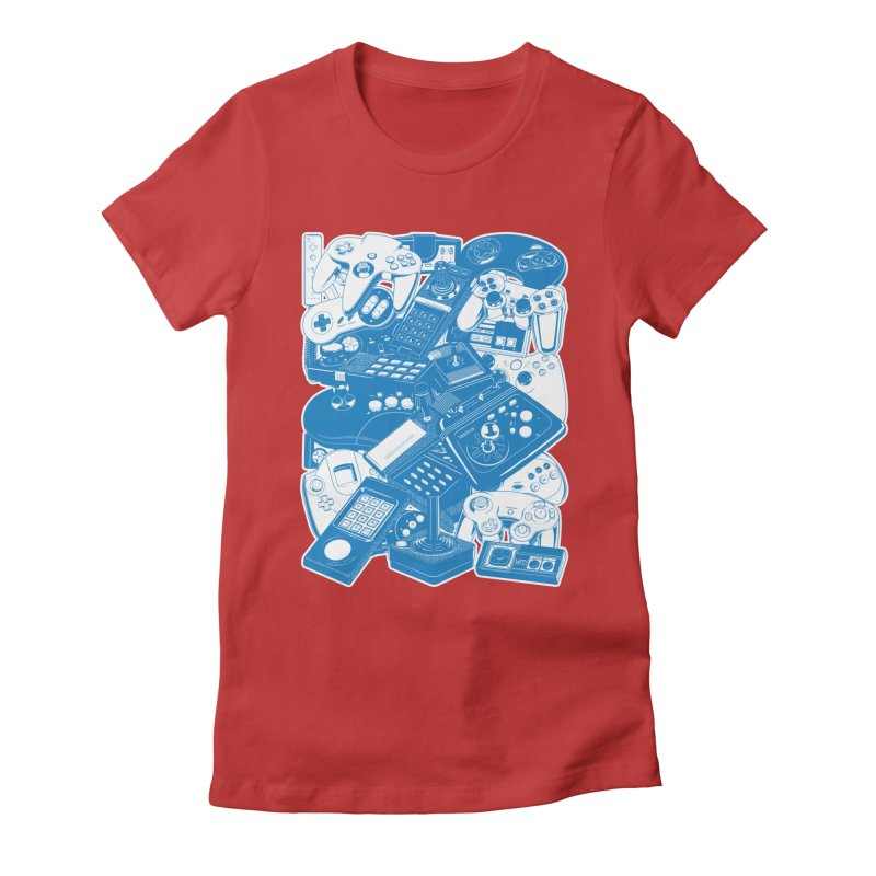 Joysticks & Controllers (blue) Women's Fitted T-Shirt by ym graphix's Artist Shop