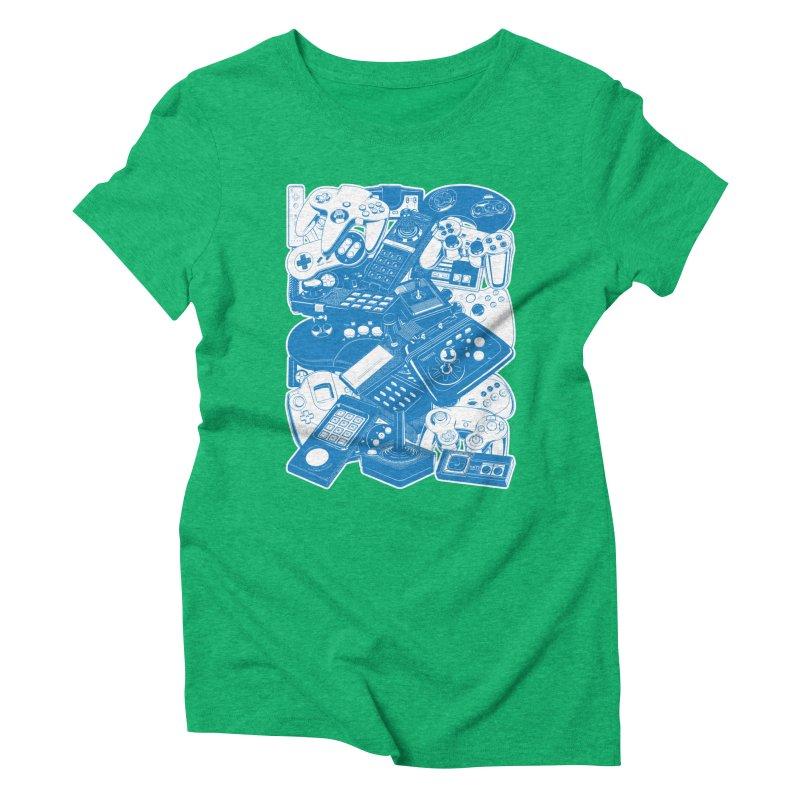 Joysticks & Controllers (blue) Women's Triblend T-shirt by ym graphix's Artist Shop