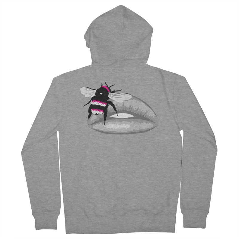 Bee-Stung Lips Men's French Terry Zip-Up Hoody by ym graphix's Artist Shop