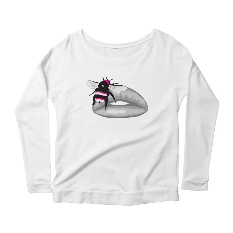 Bee-Stung Lips Women's Longsleeve Scoopneck  by ym graphix's Artist Shop