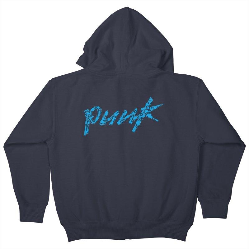 Cyber Punk (Blue) Kids Zip-Up Hoody by ym graphix's Artist Shop