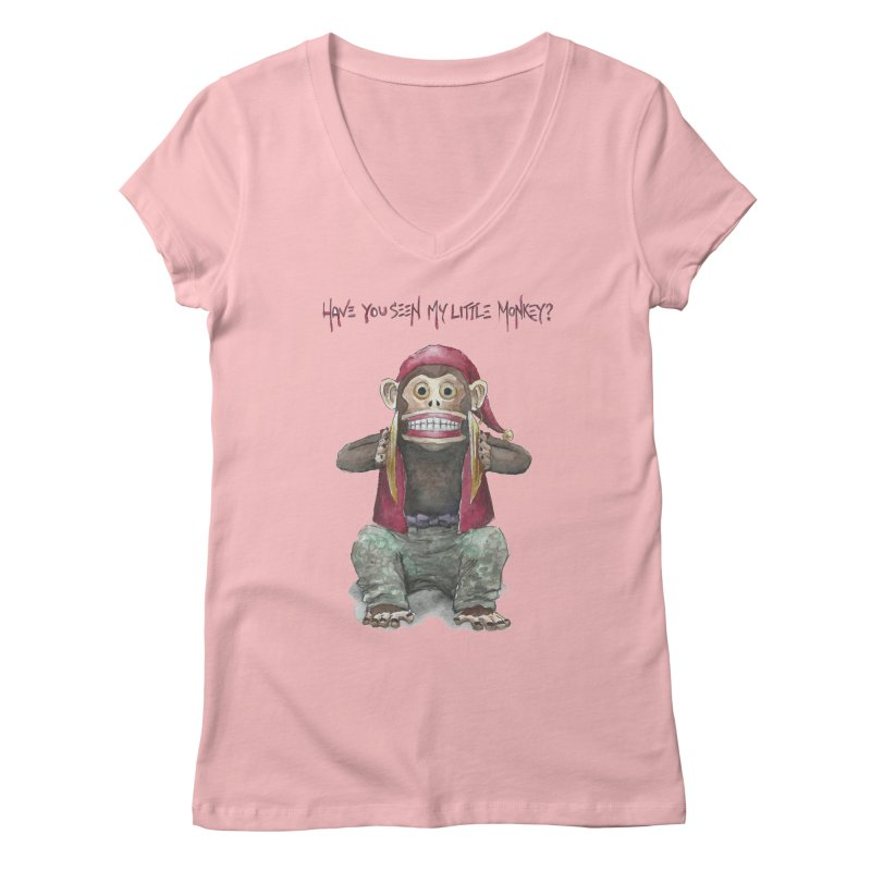 Evil Toy Monkey Women's V-Neck by Yodagoddess' Artist Shop