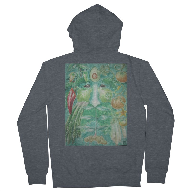 Garden Green Man with Peppers and Pumpkins Men's Zip-Up Hoody by Yodagoddess' Artist Shop