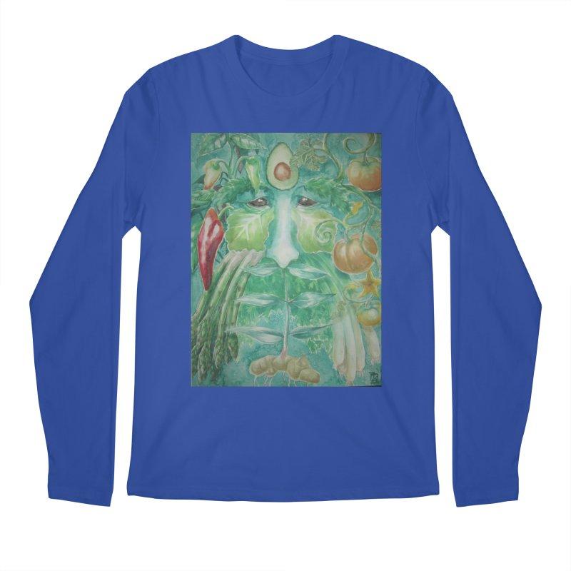 Garden Green Man with Peppers and Pumpkins Men's Longsleeve T-Shirt by Yodagoddess' Artist Shop