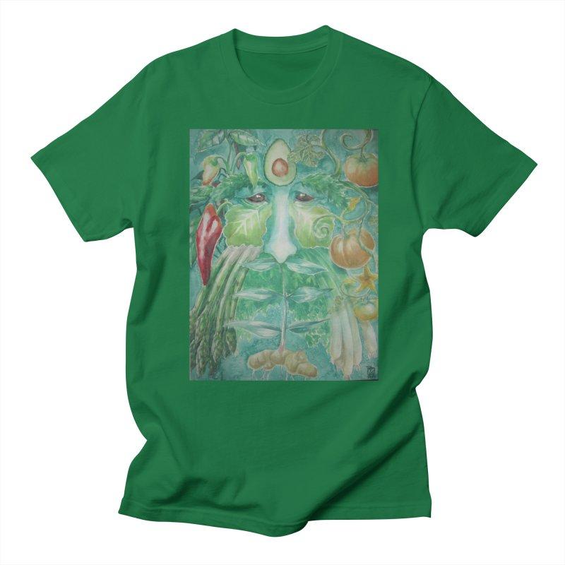 Garden Green Man with Peppers and Pumpkins Men's T-Shirt by Yodagoddess' Artist Shop