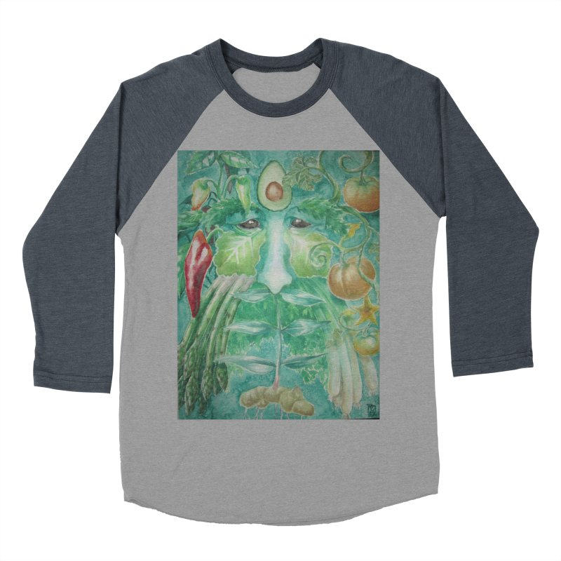 Garden Green Man with Peppers and Pumpkins Women's Baseball Triblend T-Shirt by Yodagoddess' Artist Shop