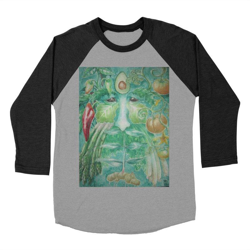 Garden Green Man with Peppers and Pumpkins Men's Baseball Triblend T-Shirt by Yodagoddess' Artist Shop