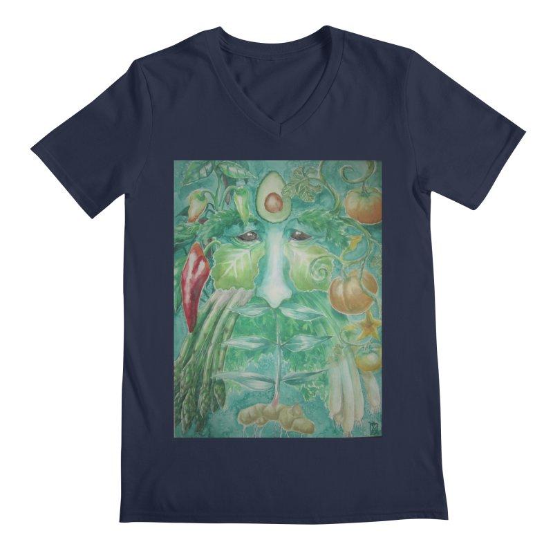 Garden Green Man with Peppers and Pumpkins Men's Regular V-Neck by Yodagoddess' Artist Shop