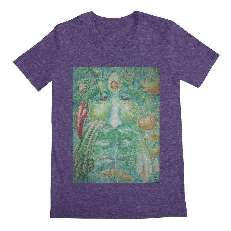 Garden Green Man with Peppers and Pumpkins Men's V-Neck by Yodagoddess' Artist Shop