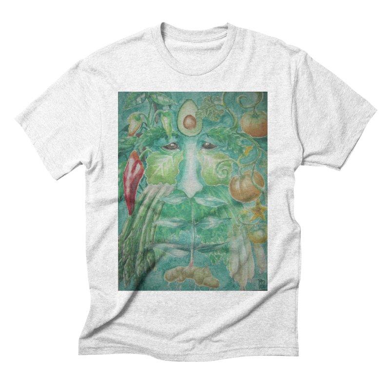 Garden Green Man with Peppers and Pumpkins Men's Triblend T-shirt by Yodagoddess' Artist Shop