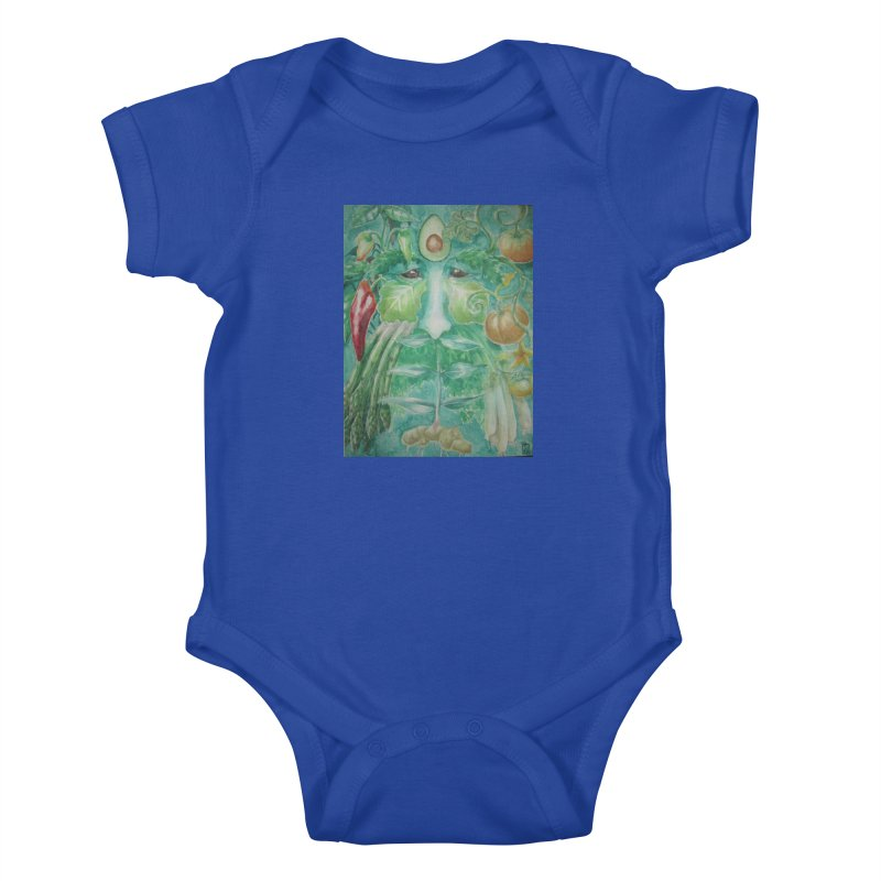 Garden Green Man with Peppers and Pumpkins Kids Baby Bodysuit by Yodagoddess' Artist Shop