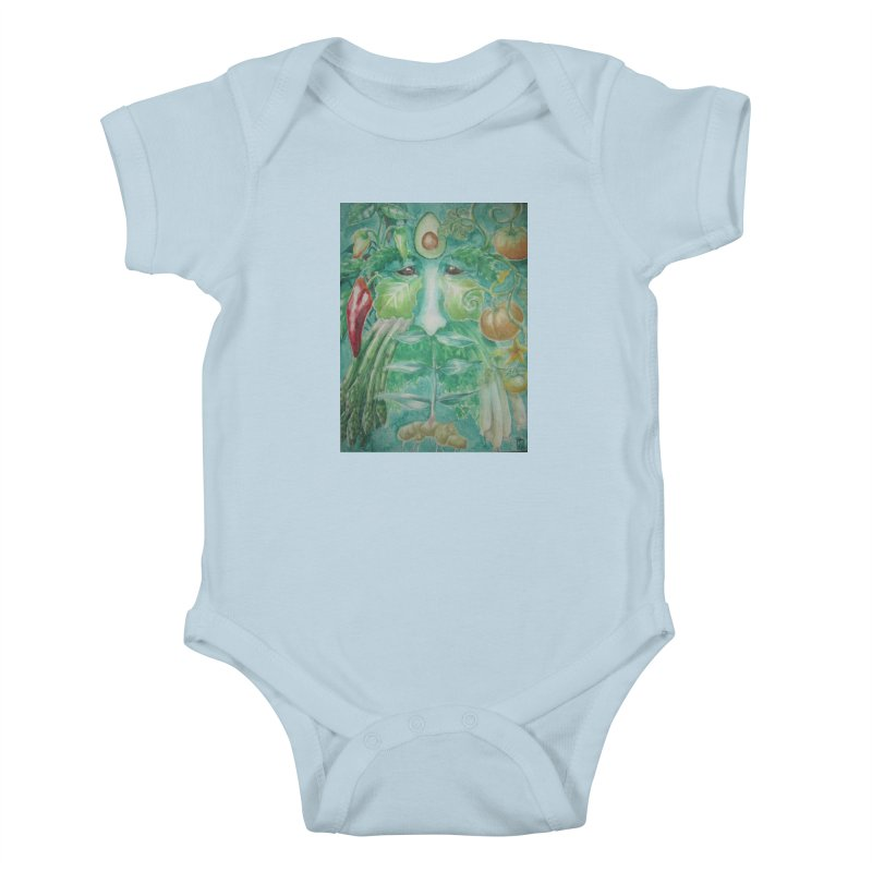Garden Green Man with Peppers and Pumpkins Kids Baby Bodysuit by Yodagoddess' Artist Shop