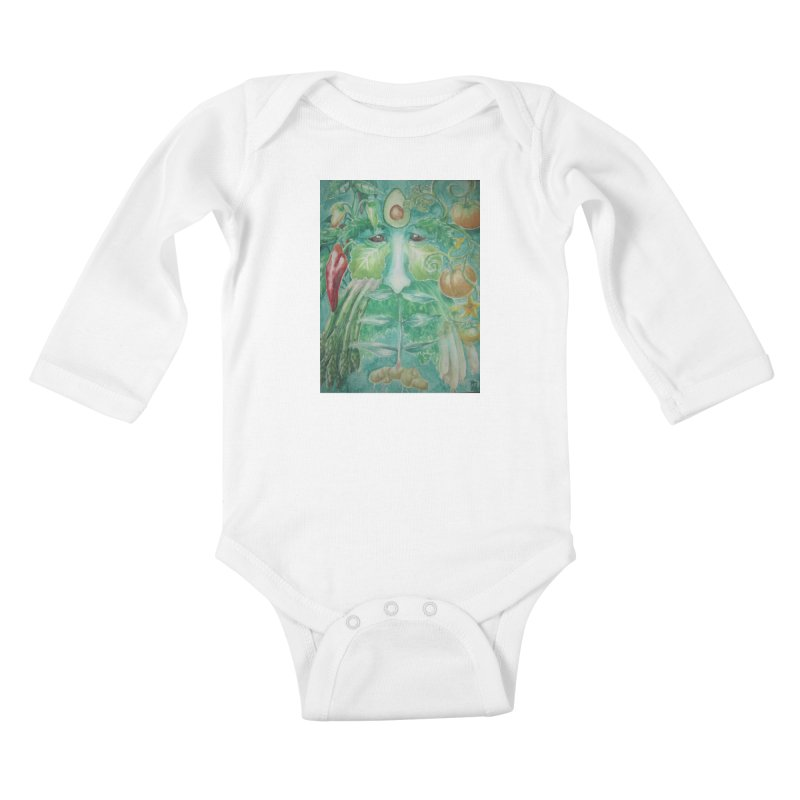 Garden Green Man with Peppers and Pumpkins Kids Baby Longsleeve Bodysuit by Yodagoddess' Artist Shop