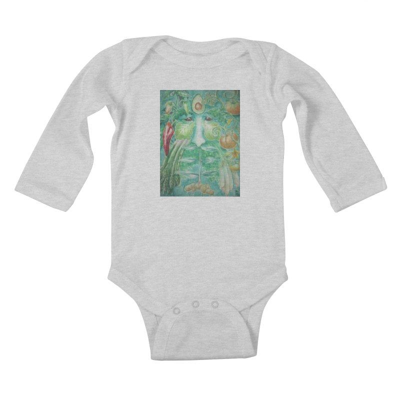 Garden Green Man with Peppers and Pumpkins Kids Baby Longsleeve Bodysuit by Yodagoddess' Artist Shop