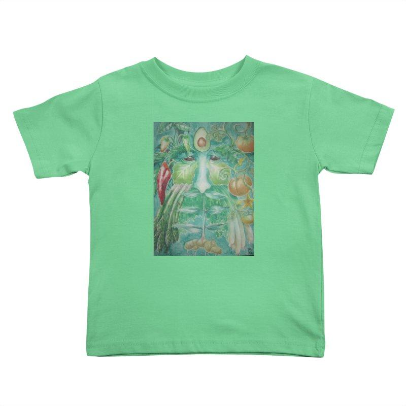 Garden Green Man with Peppers and Pumpkins Kids Toddler T-Shirt by Yodagoddess' Artist Shop