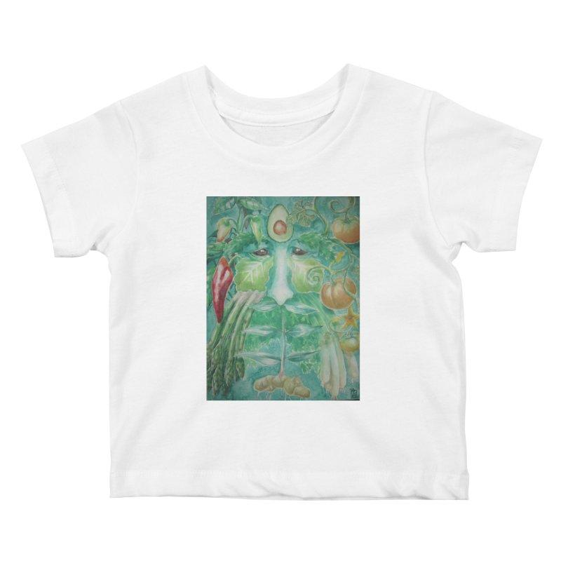 Garden Green Man with Peppers and Pumpkins Kids Baby T-Shirt by Yodagoddess' Artist Shop