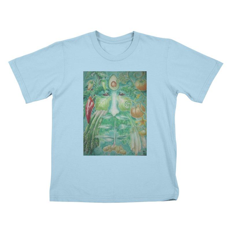 Garden Green Man with Peppers and Pumpkins Kids T-shirt by Yodagoddess' Artist Shop