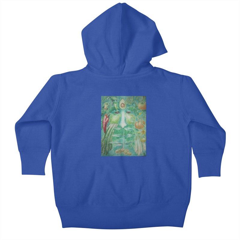 Garden Green Man with Peppers and Pumpkins Kids Baby Zip-Up Hoody by Yodagoddess' Artist Shop